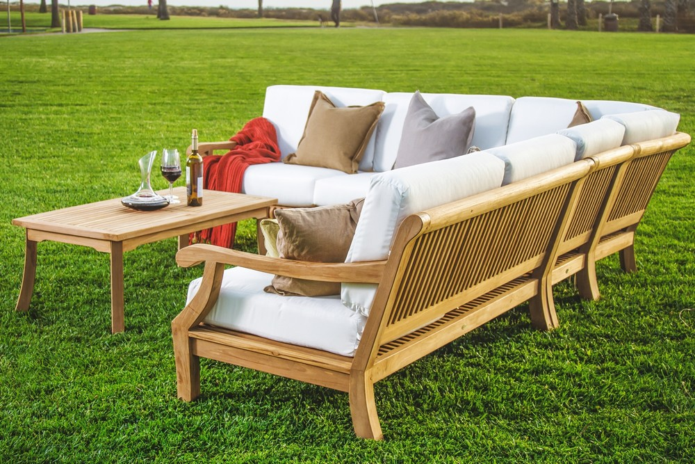5 Pc Sectional Sofa Set Teakwood Teak Wood Garden Indoor Outdoor Patio Pool Giva Ebay