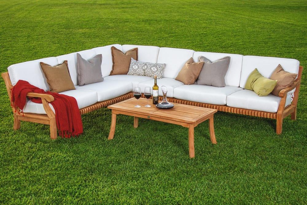5 Pc Sectional Sofa Set Teakwood Teak Wood Garden Indoor Outdoor