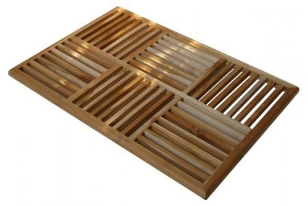"""36"""" Teak Basket Weave Floor Mat"""