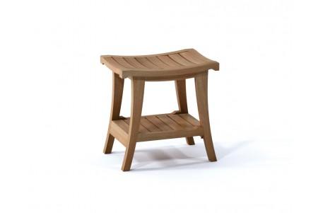 "18"" Milan Teak Shower Bench with Shelf"