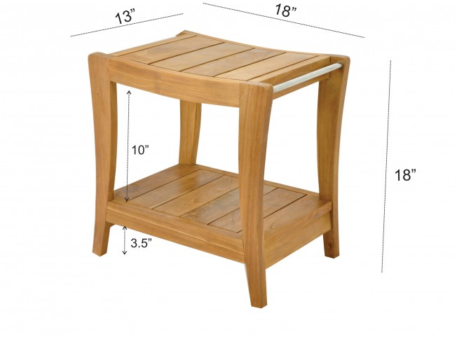 18 Quot Paris Teak Shower Bench With Shelf Teak Outdoor