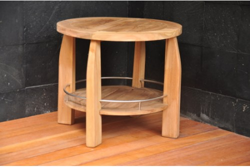"21.25"" Round Shower Spa Bench Stool"