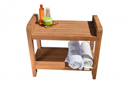 "23.25"" Teak Shower Stool with Shelf"