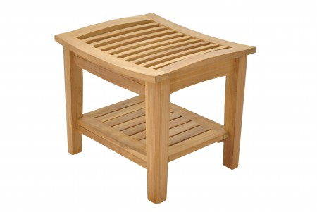 "19"" Teak Stool With Shelf"