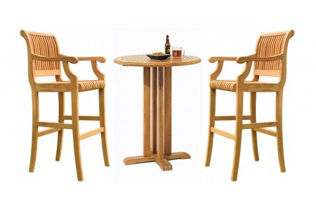 "Teak Giva Bar Set (36"" Round Table + 2 Arm Chairs)"