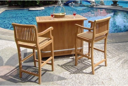 Giva 3 Piece Bar Set - Bar Cabinet With 2 Bar Arm Chairs