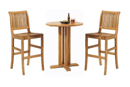 "Teak Giva Bar Set (36"" Round Table + 2 Armless Chairs)"