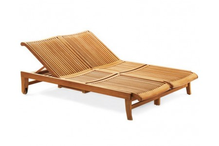 Teak Giva Double Chaise Lounger