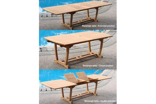 "94"" Double Extension Rectangle Dining Table with Trestle Legs"
