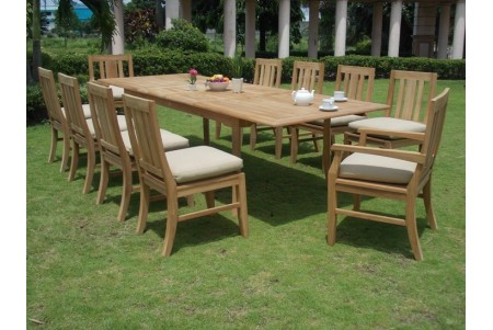 "11 PC Dining Set - 117"" Double Extension Rectangle Table & 10 Osborne Chairs (2 Arms + 8 Armless)"