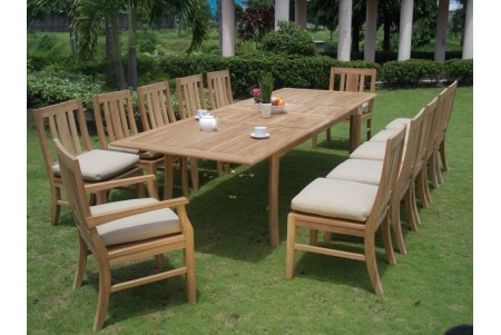 "13 PC Dining Set - 117"" Double Extension Rectangle Table & 12 Osborne Chairs (2 Arms + 10 Armless)"
