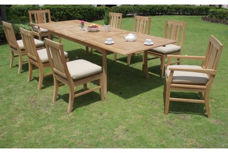"9 PC Dining Set - 117"" Double Extension Rectangle Table & 8 Osborne Chairs (2 Arms + 6 Armless)"