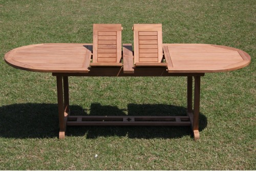"""94"""" Double Extension Oval Dining Table with Trestle Legs"""