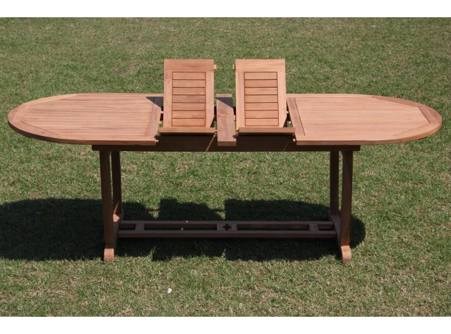 Double Extension Oval Dining Table With Trestle Legs - Oval trestle dining table
