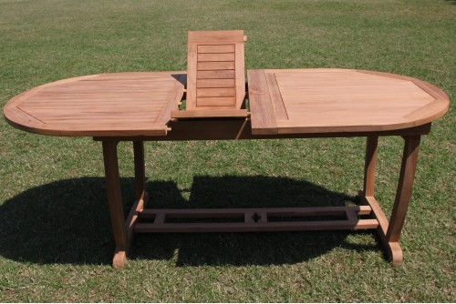 """117"""" Double Extension Oval Dining Table with Trestle Legs"""