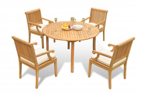 "5 PC Dining Set - 48"" Round Table & 4 Sack Arm Chairs"
