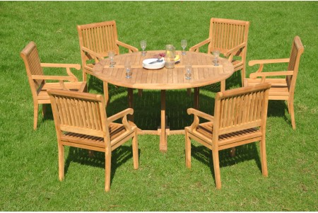 "7 PC Dining Set - 60"" Round Table & 6 Sack Arm Chairs"