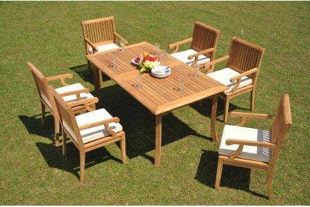 "7 PC Dining Set - 71"" Rectangle Table & 6 Sack Arm Chairs"