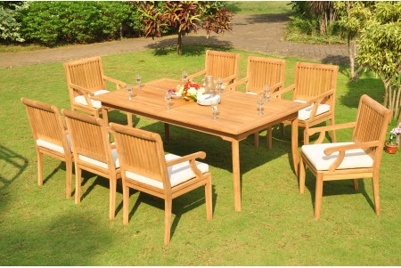"9 PC Dining Set - 83"" Rectangle Table & 8 Sack Arm Chairs"