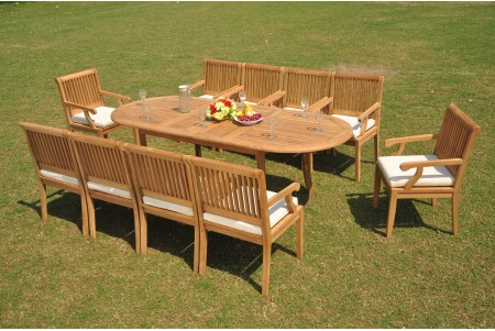 "11 PC Dining Set - 94"" Double Extension Oval Table & 10 Sack Arm Chairs"