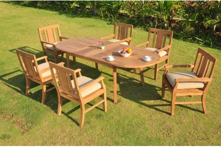 "7 PC Dining Set - 94"" Double Extension Oval Table & 6 Osborne Arm Chairs"