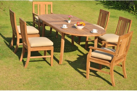 "7 PC Dining Set - 94"" Double Extension Oval Table & 6 Osborne Chairs (2 Arms + 4 Armless)"