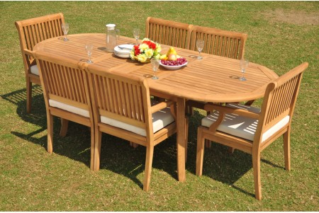 "7 PC Dining Set - 94"" Double Extension Oval Table & 6 Sack Arm Chairs"