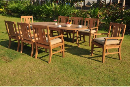 "9 PC Dining Set - 94"" Double Extension Oval Table & 8 Osborne Arm Chairs"