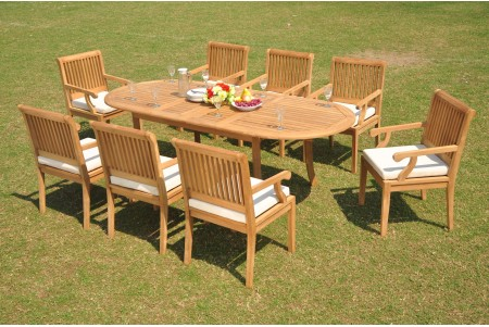"9 PC Dining Set - 94"" Double Extension Oval Table & 8 Sack Arm Chairs"