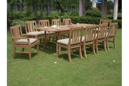 "11 PC Dining Set - 94"" Double Extension Rectangle Table & 10 Osborne Chairs (2 Arms + 8 Armless)"