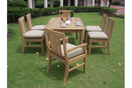 "7 PC Dining Set - 94"" Double Extension Rectangle Table & 6 Osborne Chairs (2 Arms + 4 Armless)"