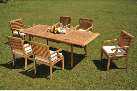 "7 PC Dining Set - 94"" Double Extension Rectangle Table & 6 Sack Arm Chairs"
