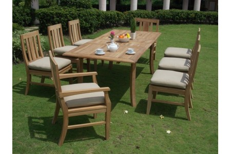 "9 PC Dining Set - 94"" Double Extension Rectangle Table & 8 Osborne Chairs (2 Arms + 6 Armless)"