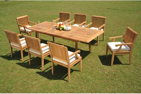 "9 PC Dining Set - 94"" Double Extension Rectangle Table & 8 Sack Arm Chairs"