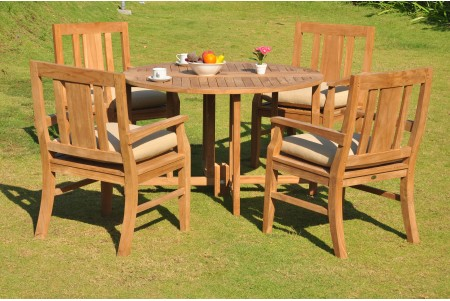 "5 PC Dining Set - 48"" Round Butterfly Table & 4 Osborne Arm Chairs"