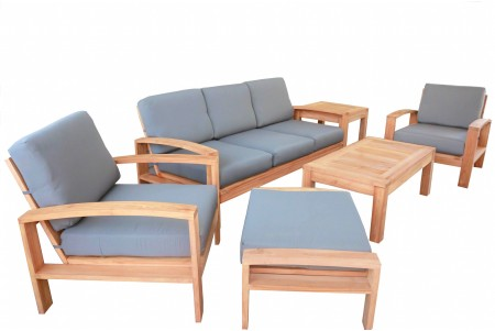 6 PC Cadras Sofa Set - 3-Seater Sofa, 2 Lounge Chairs, Ottoman, Coffee Table and Side Table