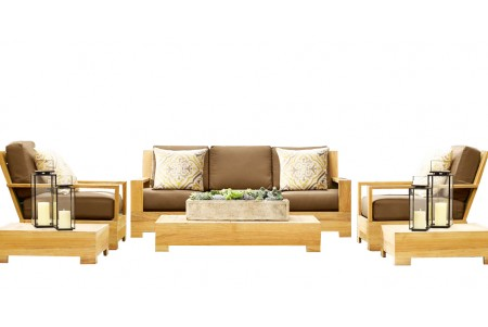 5 PC Leveb Sofa Set - 3 Seater Sofa, 1 Lounge Chair, 1 Ottoman, 1 Coffee Table And 1 Side Table