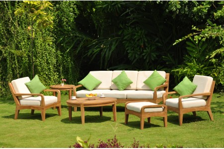 6 PC Noida Sofa Set - 3 Seater Sofa, 2 Lounge Chairs, 1 Ottoman, 1 Round Coffee Table and 1 Side Table