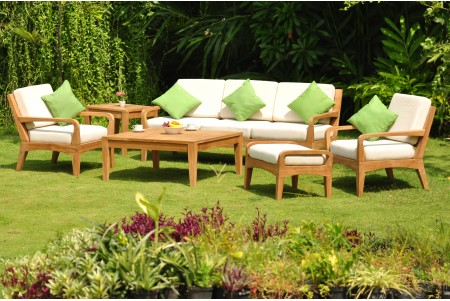 6 PC Noida Sofa Set - 3 Seater Sofa, 2 Lounge Chairs, 1 Ottoman, 1 Square Coffee Table and 1 Side Table