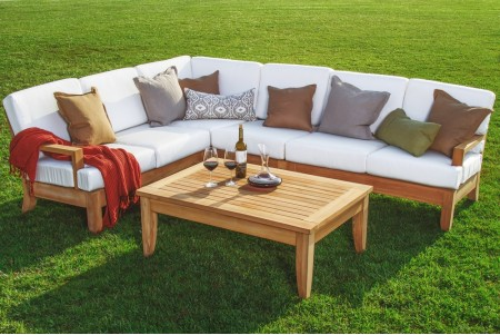 5 PC Atnas Sectional Sofa Set - 2 Sofas (Left and Right), Lounge Armless Chair, Corner Piece and Coffee Table