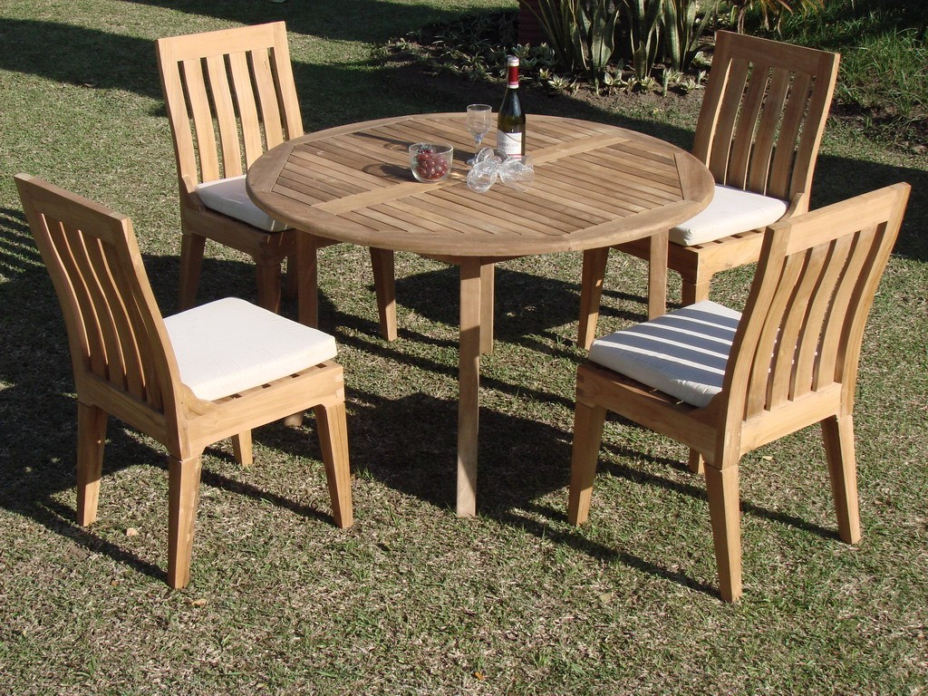 5 pc dining teak set garden outdoor patio furniture pool for Best deals on patio furniture sets