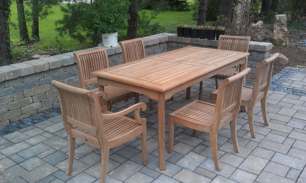 7 pc teak dining set garden outdoor patio furniture giva for Best deals on outdoor patio furniture