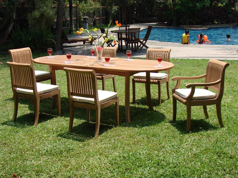 7 pc teak dining set garden outdoor patio furniture new for Best deals on patio furniture sets